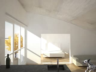 Umbau Dachgeschosswohnung, München: Salones de estilo  de Brut Deluxe Architecture + Design