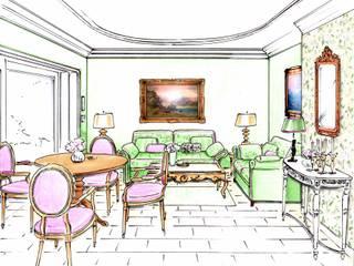 Das Gartenzimmer:  Wohnzimmer von Innenarchitektin Claudia Haubrock,Klassisch