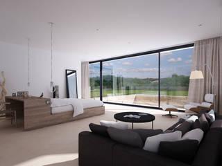 Proyecto de Vivienda Unifamiliar: Salones de estilo moderno de DUE Architecture & Design