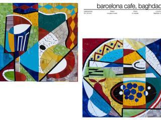 BARCELONA CAFE , BAGHDAD . Martin Brown Mosaics Dining roomTables