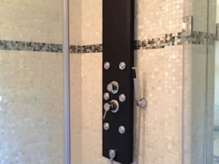 Pure white freshwater and black lip mother of pearl mosaics:  Bathroom by ShellShock Designs