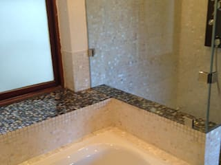 ​Pure white freshwater and black lip mother of pearl mosaics:  Bathroom by ShellShock Designs