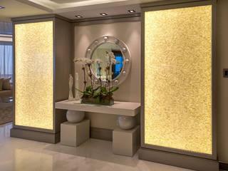 Pure White Seamless Brick Freshwater Back Lit Mother of Pearl Mosaic Panels ShellShock Designs Salon moderne