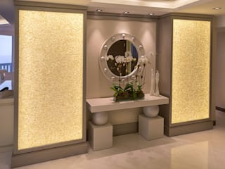 ​Pure White seamless brick freshwater back lit mother of pearl mosaic panels:  Living room by ShellShock Designs
