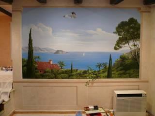 Dokumentation einer Wandmalerei von Illusionen mit Farbe Mediterran