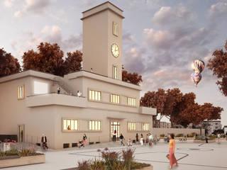 EX MOF. Ripristino della Palazzina in nuova sede dell'Urban Center e dell'Ordine degli Architetti di Ferrara Case moderne di QBatelier + FèRiMa Moderno