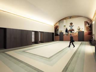 EX MOF. Ripristino della Palazzina in nuova sede dell'Urban Center e dell'Ordine degli Architetti di Ferrara Pareti & Pavimenti in stile moderno di QBatelier + FèRiMa Moderno