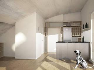 Umbau Dachgeschosswohnung, München: minimalistische Küche von Brut Deluxe Architektur + Design