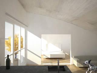 Umbau Dachgeschosswohnung, München: minimalistische Schlafzimmer von Brut Deluxe Architektur + Design