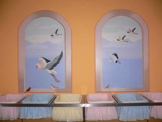Mural pintado en la pared. Clínica La Milagrosa.- Madrid:  de estilo  de MURALES MARAVILLOSOS