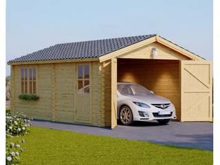 Holzgarage 400 x 600 44 mm, 24 m²: skandinavische Garage & Schuppen von Pineca Group