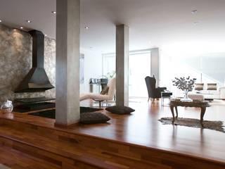 VIVVIENDA UNIFAMILIAR: Salones de estilo moderno de  BB INTERIORISMO