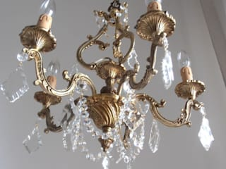 French solid bronze vintage crystal chandelier, 5 arms, 50s, gilded, great details, Paris apartment by Milan Chic Chandeliers
