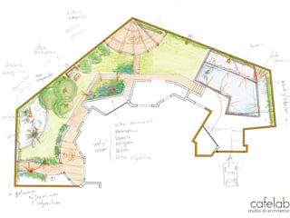 Un giardino in blu: Giardino in stile in stile Mediterraneo di CAFElab studio