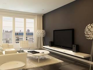 Wohnzimmer in Blau: mediterrane Wohnzimmer von GR8DESIGN