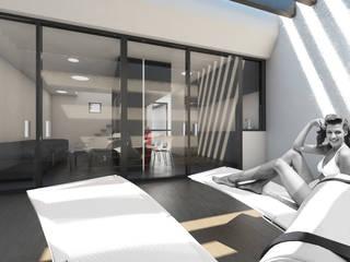 Q:NØ Arquitectos Mediterraner Balkon, Veranda & Terrasse