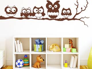 Wandtattoo 5 Eule auf einem Ast: ausgefallene Kinderzimmer von Wandtattoo-Loft