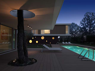 Cannata&Partners Lighting Design Balcon, Veranda & Terrasse modernes