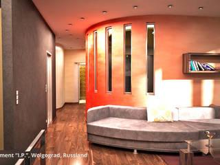 """Innenarchitektonische Neugestaltung Apartment """"I.P."""" - Wolgograd, Russland:  Wohnzimmer von GID│GOLDMANN - Innenarchitekt in Sehnde"""