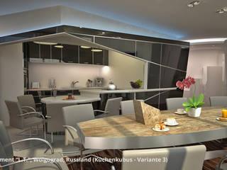 """Innenarchitektonische Neugestaltung Apartment """"L.T."""" (""""Wolga-Wave"""") - Wolgograd, Russland:  Esszimmer von GID│GOLDMANN - Innenarchitekt in Sehnde"""