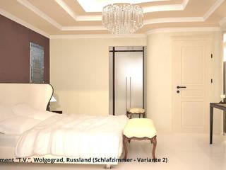 """Innenarchitektonische Neugestaltung Apartment """"T.V."""" - Wolgograd, Russland:  Schlafzimmer von GID│GOLDMANN - Innenarchitekt in Sehnde"""
