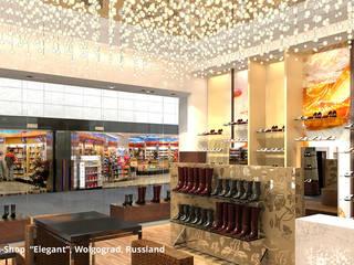 """Innenarchitektonische Gestaltung eines Schuhshops """"Elegant"""" - Wolgograd, Russland:  Ladenflächen von GID│GOLDMANN - Innenarchitekt in Sehnde"""