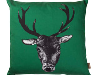 Stag Cushion in Green by Lisa Bliss:   by Anthea's Home Store