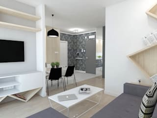 Salon moderne par WNĘTRZNOŚCI Projektowanie wnętrz i mebli Moderne