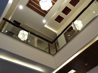 Double Height Lobby ceiling Hasta architects Modern Corridor, Hallway and Staircase