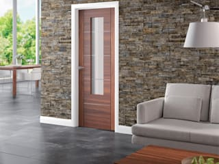 Portici Walnut Glazed Door:   by Modern Doors Ltd