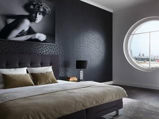 Dormitorio Metropolis: Paredes y suelos de estilo moderno de Disbar Papeles Pintados