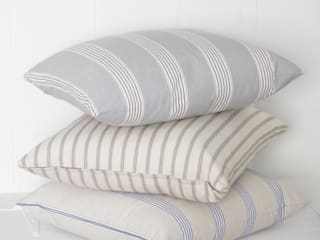 Linen Ticking Cushions:   by Loop the Loop