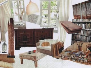 Planche d'inspiration, pièce à vivre coin salon / bureau / bibliothèque:  de style  par Nelly Pansier Décoratrice d'Intérieurs