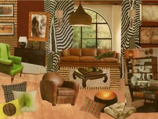 planche d'inspiration ethnique coin salon / salle à manger de 32m²:  de style  par Nelly Pansier Décoratrice d'Intérieurs