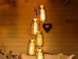5 Jam Jar Chandelier Light :  Living room by Lime Lace Eclectic Interiors