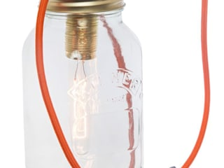 Jam Jar Lamp With Orange Cord:  Living room by Lime Lace Eclectic Interiors