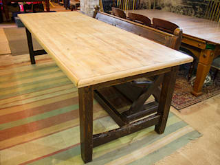 Large antique dining table in pine: country Dining room by Brown's Antiques Billiards and Interiors