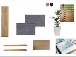Ambiance Zen ardoise et bois Salle de bain moderne par agence concept decoration Moderne