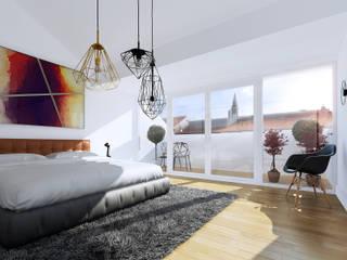 Berlin Penthouse sleepin: moderne Schlafzimmer von loomilux