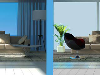 Inteligenta folia okienna SONTE zastosowana w salonie: styl , w kategorii  zaprojektowany przez Inteligentna Folia na przeszklenia SONTE - SONTE Poland Sp. z o.o.