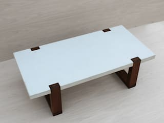 White Concrete & Reclaimed Wood Coffee Table: modern  by IGMA Designs, Modern
