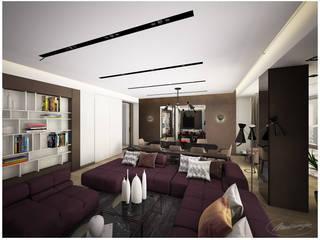«50 оттенков кофе»: Гостиная в . Автор – Medianyk Studio