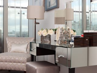 London Docklands penthouse apartment:  Bedroom by At Home Interior Design Consultants Cambridge