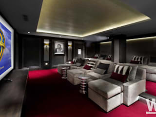 Basement Home Cinema: eclectic Media room by Wilkinson Beven Design