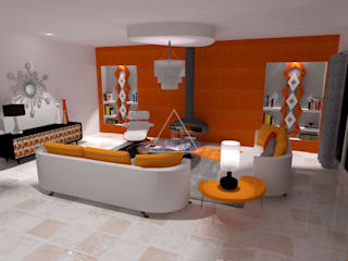 Estilo retro de diseño / Retro style design: Salones de estilo  de Julia Design