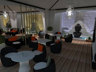 Terraza Chill-out / Chill-out terrace Balcones y terrazas de estilo asiático de Julia Design Asiático