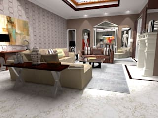 Salón y comedor de mansión / Living & Dining Room mansion: Casas de estilo  de Julia Design