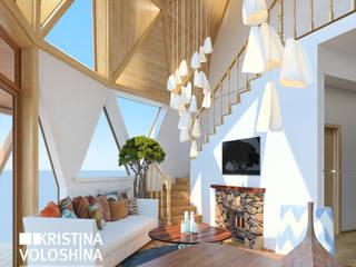 современный интерьер двухуровневой квартиры Гостиная в стиле модерн от kristinavoloshina Модерн