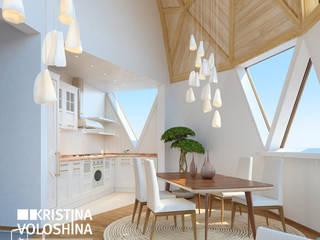 современный интерьер двухуровневой квартиры Кухня в стиле модерн от kristinavoloshina Модерн