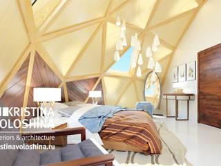современный интерьер двухуровневой квартиры Спальня в стиле минимализм от kristinavoloshina Минимализм